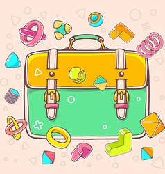 colorful of yellow and green backpack on whi vector image