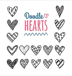 Hand drawn doodle hearts with different pattern vector image