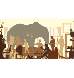 Living room elephants vector image vector image