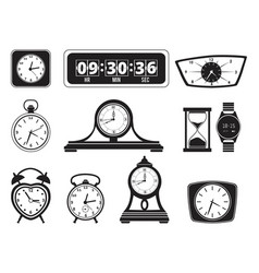 monochrome of different clocks vector image