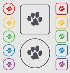 trace dogs icon sign symbol on the Round and vector image