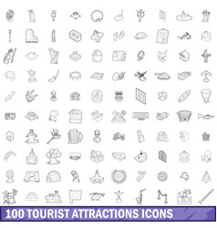 100 tourist attractions icons set outline style vector