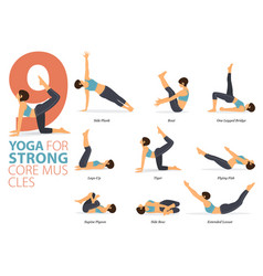 9 yoga poses for strong core muscles concept vector