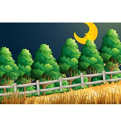 A view of the sleeping moon at the jungle vector image