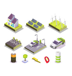 Alternative energy set flat isometric vector