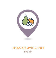 apple grapes and pear mapping pin icon harvest vector image