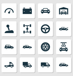 Auto icons set collection of repairing crossover vector