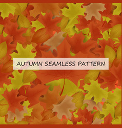 autumn leafs seamless pattern for background vector image