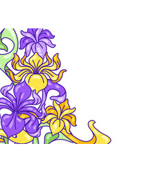 Background with iris flowers art nouveau vintage vector
