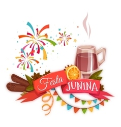 Banner with red ribbon and quentao for Festa vector image