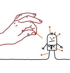 Big hand and cartoon businessman - voodoo vector