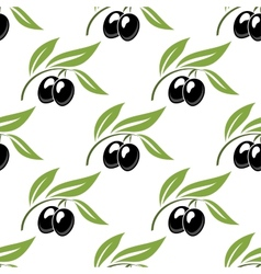 Black olives seamless pattern vector image