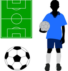 boy in soccer uniform soccer ball and terrain vector image
