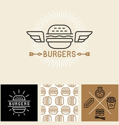 burger logo design elements and package template vector image
