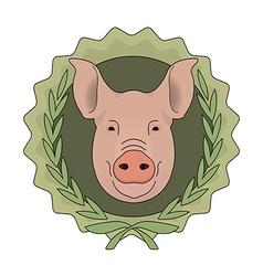 Butchery eco logo Pig head in laurel wreath Green vector image