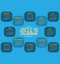 calendar 2019 blue tone yellow orange white text vector image