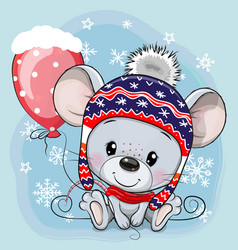 Cartoon mouse in a knit cap with a red balloon vector