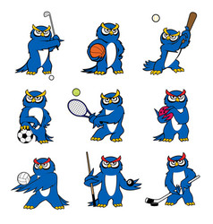 Cartoon owl play sports mascot icons vector