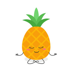 cartoon pineapple meditation vector image