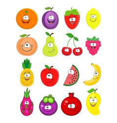 cartoon set of different fruits peach lemo vector image