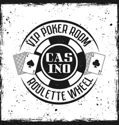 casino round badge or emblem with gambling chip vector image