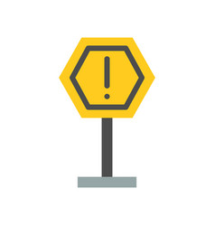 caution sign post icon flat design vector image