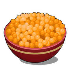 clay bowl with red caviar isolated on white vector image
