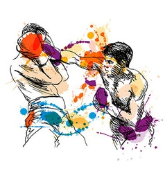 Colored hand sketch Boxers vector