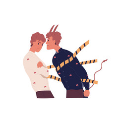 Confrontation good and bad sides person vector