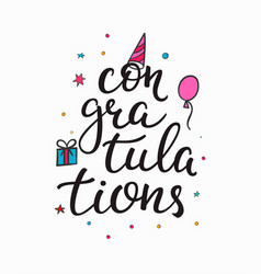 Congratulations birthday party lettering quote vector