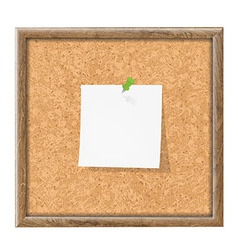 Cork Board With Blank Note Paper vector image