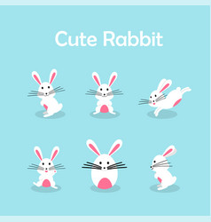 cute bunny or rabbit collection for easter day vector image