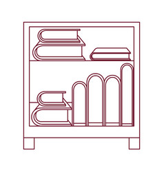 Dark red line contour of decorative cabinet table vector