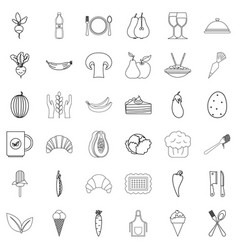 diet icons set outline style vector image