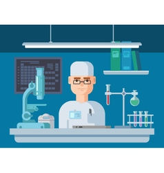 Doctor sits in laboratory vector