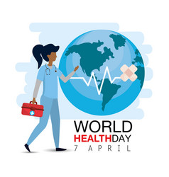 Doctor with first aid to world health day vector
