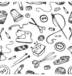 Doodle pattern of tailor business vector