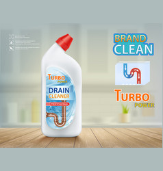 Drain cleaner detergent in plastic bottle and pipe vector