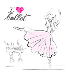 Drawing of young ballerina vector
