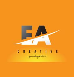 Ea e a letter modern logo design with yellow vector