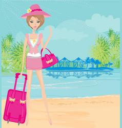 Elegant tourist on vacation vector