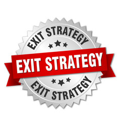 Exit strategy round isolated silver badge vector