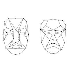 face recognition scanning grid vector image