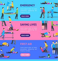 first aid emergency help with people banner vector image