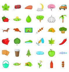 fishing nature icons set cartoon style vector image