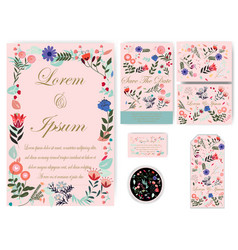 flower wedding card and tag vector image