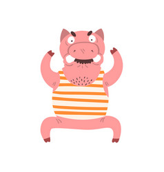 funny angry male pig farm animal cartoon vector image
