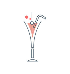 glass of cosmopolitan cocktail with drinking straw vector image