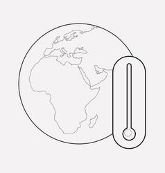 Global warning icon line element vector