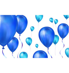 glossy blue color flying helium balloons backdrop vector image